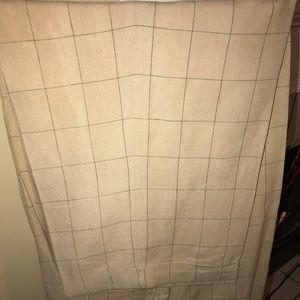 Plaid Pleated Men's Linen Casual Dress Pants